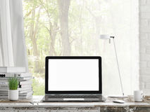 Mock up Laptop, Outdoor view, background, Stock Photos