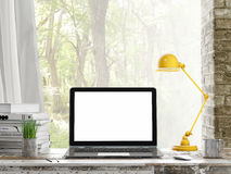 Mock up Laptop, Outdoor view, background, 3d illustration Royalty Free Stock Images