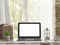 Mock up Laptop, Outdoor view, 3d illustration Royalty Free Stock Photography