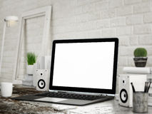 Mock UP laptop, white room background Stock Photography