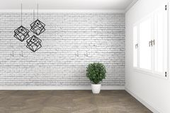 Loft room design, with lamp and plants on white windows in brick wall on wooden floor. 3D rendering. Mock up Loft room design, with lamp and plants on white vector illustration