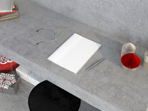 Mock up of magazine on the concrete table with decorations for C Stock Photo