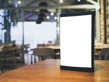 Mock up Menu Frame on Table Bar Restaurant Cafe Interior background stock image