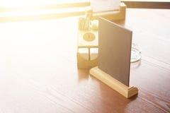 Menu frame. Mock up Menu frame on Table in Bar restaurant cafe stock photos