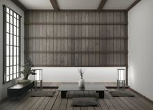 Modern empty living room with floor tatami mat and traditional japanese.3D rendering. Mock up modern empty living room with floor tatami mat and traditional vector illustration