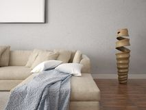 Mock up a modern living room with a comfortable corner sofa. Stock Photography