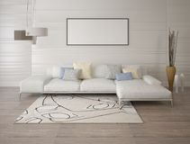 Mock up a modern living room with a light corner sofa. Mock up a modern living room with a light corner sofa and a fashionable background Stock Images
