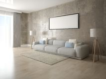 Mock up a modern living room with a light sofa. Mock up a modern living room with a light sofa and a trendy hipster background Stock Photography
