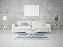 Mock up a modern living room with a light stylish sofa. Mock up a modern living room with a light stylish sofa and hipster background Stock Photography