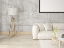 Mock up a modern living room with a light stylish sofa. Mock up a modern living room with a light stylish sofa on the hipster background Royalty Free Stock Photography