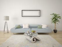 Mock up in a modern living room with a stylish lamp and vases. Royalty Free Stock Photography