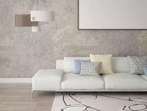 Mock up a modern living room with a stylish sofa. Stock Images