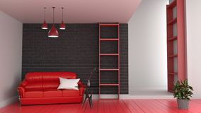 Modern red room interior, Living room with red sofa and red floor of black brick wall 3d render. Mock up Modern red room interior, Living room with red sofa and vector illustration