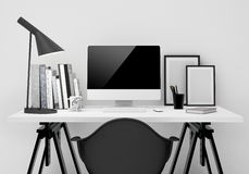 Mock up modern workspace template mock up background Royalty Free Stock Photography