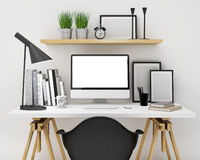 Mock up modern workspace template mock up background Royalty Free Stock Photo