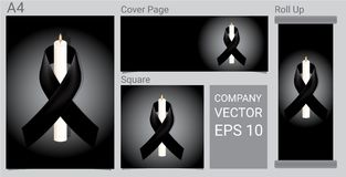 Free Mock Up Mourning Symbol With Candle And Black Respect Ribbon On White Background Banner. RIP Funeral Card Illustration. Royalty Free Stock Images - 120024199