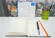 Mock up notebook with 2017 calendar and stationary Stock Photography