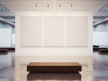 Free Mock Up Of Empty Gallery Interior With Brown Bench Royalty Free Stock Photo - 60070565