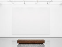 Free Mock Up Of Gallery Interior With White Canvas. 3d Stock Photos - 60071603