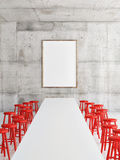 Mock up office, poster, red chairs, 3d illustration Stock Photography