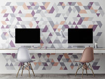 Mock up office, wall geometric decoration, Royalty Free Stock Photo