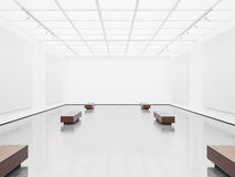 Mock up of open space gallery interior with white Stock Photos