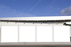 Mock up. Outdoor advertising, blank billboards outdoors on the shop or supermarket wall Royalty Free Stock Photo