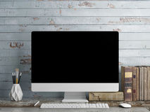 Mock up PC Screen, blue plank background Stock Photos