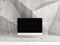 Mock up PC Screen, concrete abstract wall background, Royalty Free Stock Photography