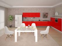 Mock up the perfect kitchen with perfect kitchen furniture. stock illustration
