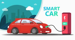 Mock up popular car. Station fast charging royalty free illustration