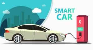 Mock up popular car. Station fast charging vector illustration