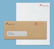 Mock-up post envelope and letter paper template. Vector illustration of closed brown envelope for letters and documents with transparent window and corporate Stock Photography