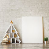 Mock up poster with abstract christmas trees, Stock Images