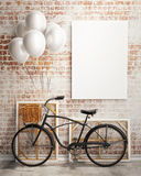 Mock up poster with bicycle and balloons in loft interior. Template design, 3D render