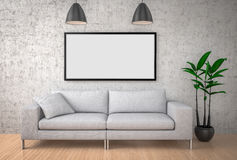 Mock up poster, big sofa, concrete wall background, 3d illustrat Stock Photo