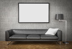 Mock up poster, big sofa, concrete wall background Royalty Free Stock Photo