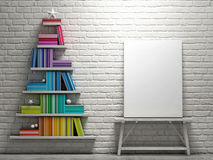 Mock up poster, bookshelf shaped christmas tree - 3D illustration Royalty Free Stock Photos