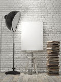 Mock up Poster on brick wall, lamp light, background Stock Images