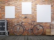 mock up poster and canvas in vintage hipster loft exterior background with bicycle. vector illustration