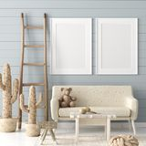 Mock up poster in children room background, pastel color room with natural wicker and wooden toys