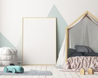 Mock up poster in the children`s bedroom with a canopy. Scandinavian style. 3d. Mock up poster in the children`s bedroom with a canopy. Scandinavian style Stock Images