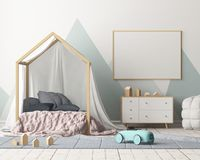 Mock up poster in the children`s bedroom with a canopy. Scandinavian style. 3d. Mock up poster in the children`s bedroom with a canopy. Scandinavian style stock illustration