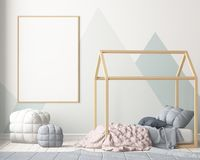 Mock up poster in the children`s bedroom with a canopy. Scandinavian style. 3d. Mock up poster in the children`s bedroom with a canopy. Scandinavian style Royalty Free Stock Photos