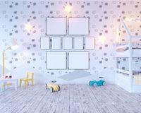Mock up poster children`s color room, with light bulbs. 3d illustration studio,  template,  up,  wall,  white. Mock up poster children`s color room, with light Royalty Free Stock Photo
