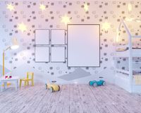 Mock up poster children`s color room, with light bulbs. 3d illustration studio,  template,  up,  wall,  white. Mock up poster children`s color room, with light Stock Photography