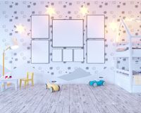 Mock up poster children`s color room, with light bulbs. 3d illustration studio,  template,  up,  wall,  white. Mock up poster children`s color room, with light Stock Photos