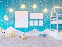 Mock up poster children`s color room, with light bulbs. 3d illustration studio,  template,  up,  wall,  white. Mock up poster children`s color room, with light Royalty Free Stock Images