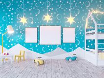 Mock up poster children`s color room, with light bulbs. 3d illustration studio,  template,  up,  wall,  white. Mock up poster children`s color room, with light Stock Image