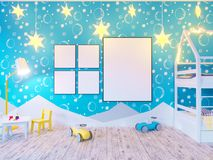 Mock up poster children`s color room, with light bulbs. 3d illustration studio,  template,  up,  wall,  white. Mock up poster children`s color room, with light Stock Images